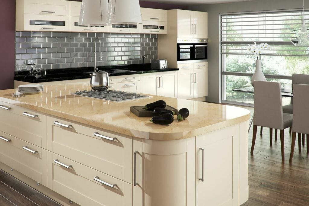 beautiful cream gloss finish creates an ambiance of contemporary style