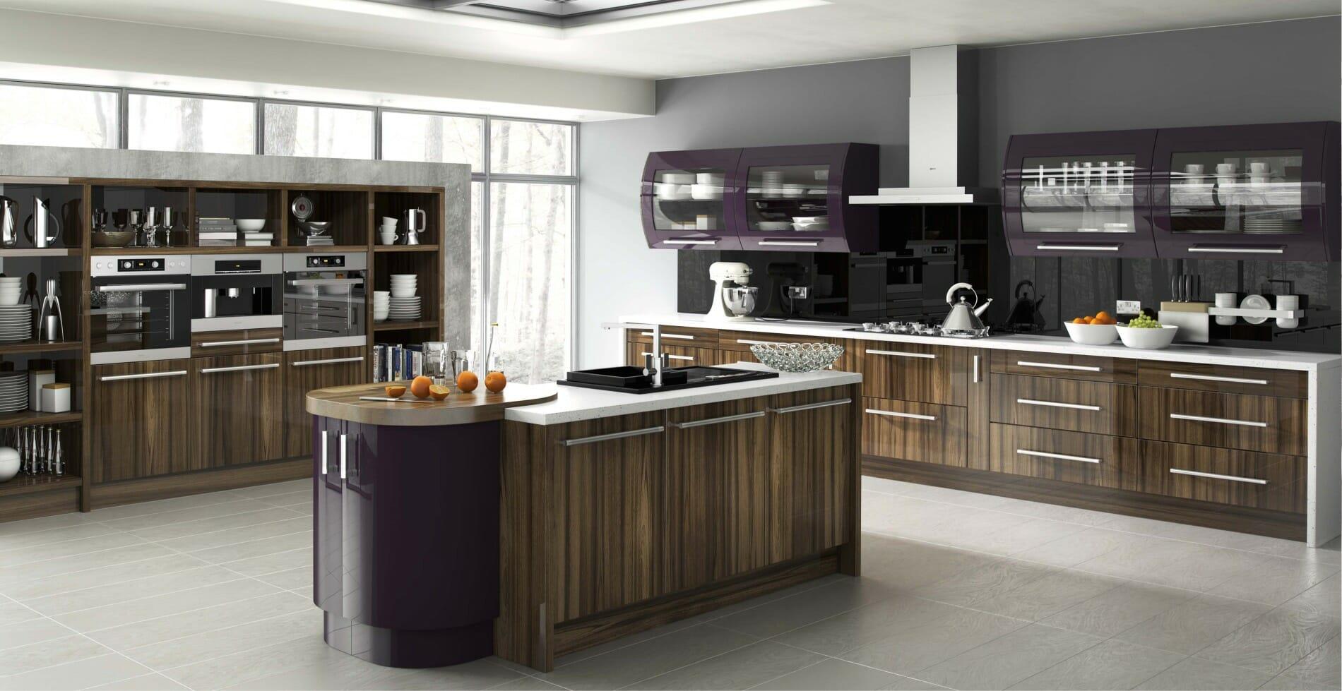 High gloss kitchens mastercraft kitchens - Duleek Tiepolo Aubergine