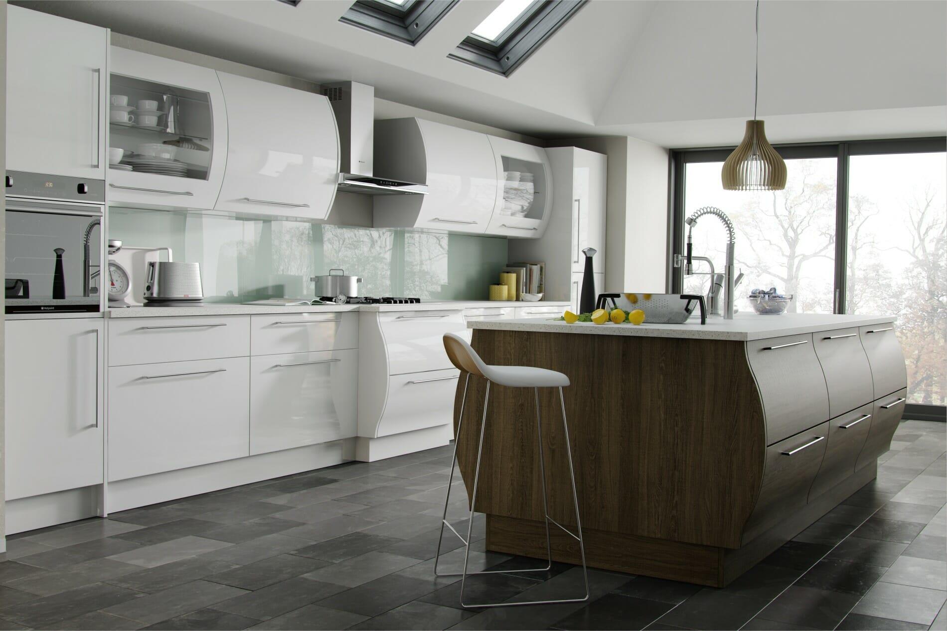 High gloss kitchens mastercraft kitchens - Duleek White Santana