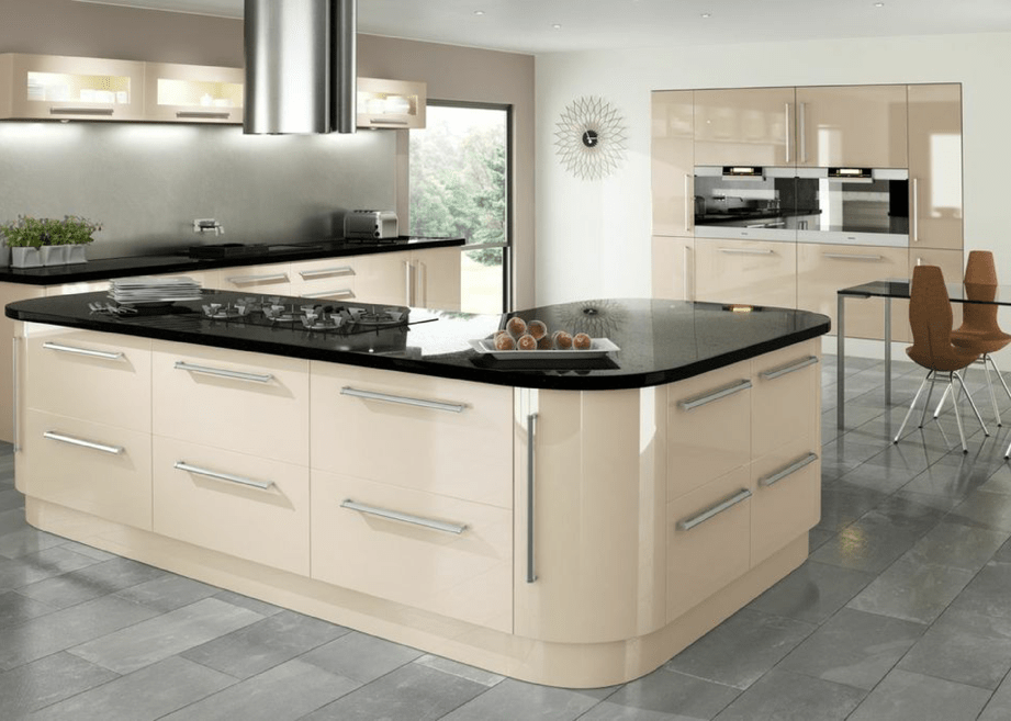 Apollo dark walnut gloss eclipse cappuccino gloss keld for Gloss kitchen designs