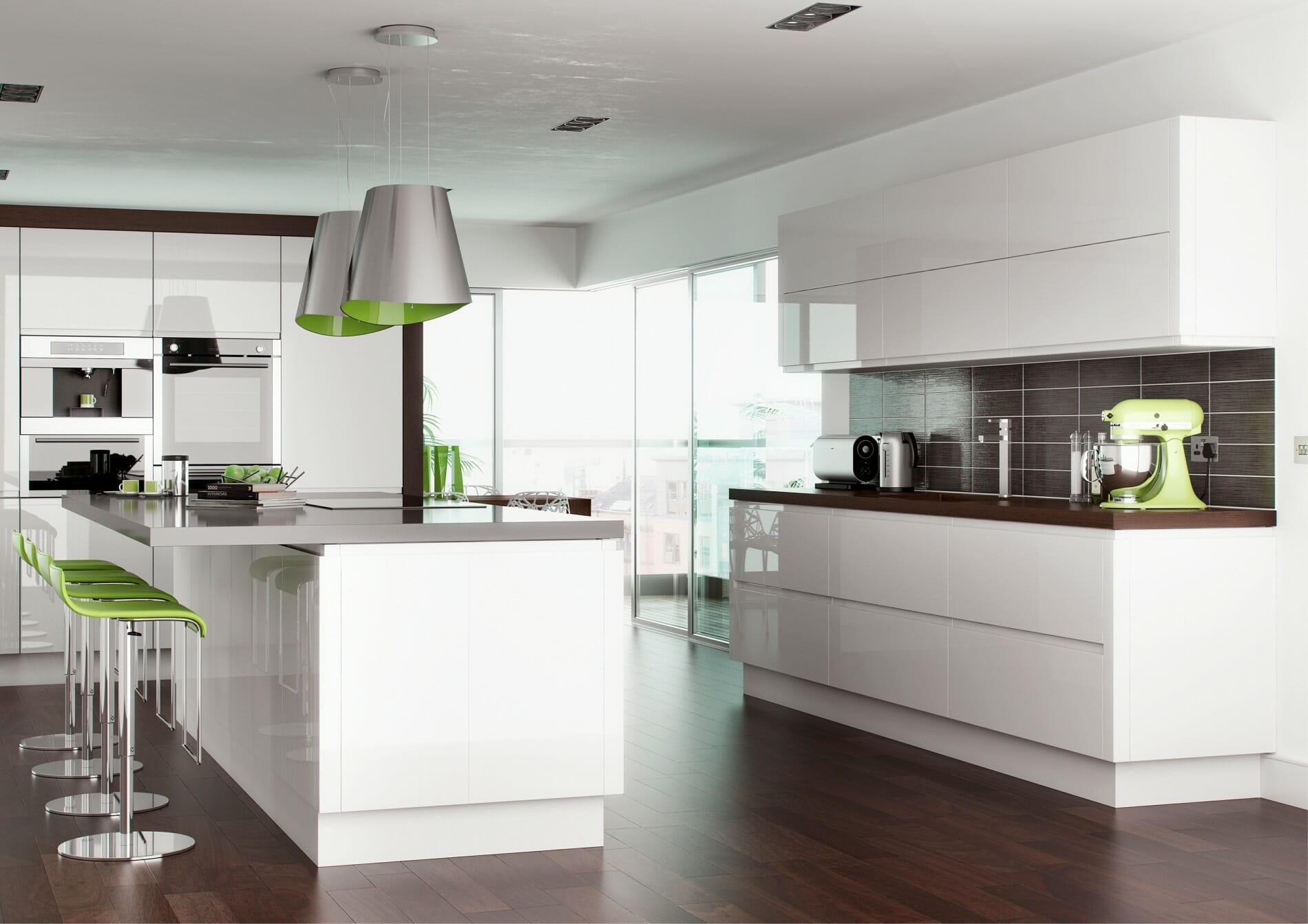 White Gloss Kitchen Worktop High Gloss Kitchens Mastercraft Kitchens