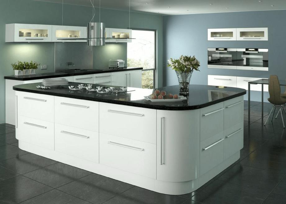 Lumi white gloss mastercraft kitchens for White gloss kitchen corner unit