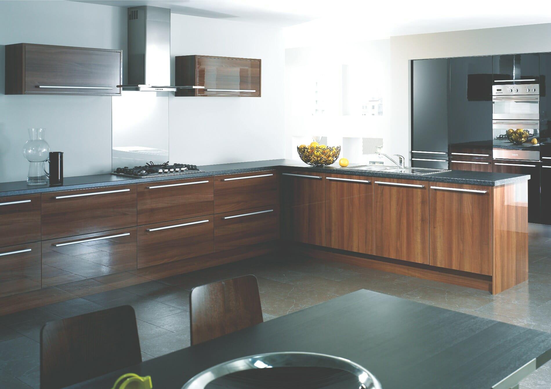 High gloss kitchens mastercraft kitchens - High Gloss Kitchens Mastercraft Kitchens Reflections Walnut Mastercraft Kitchens