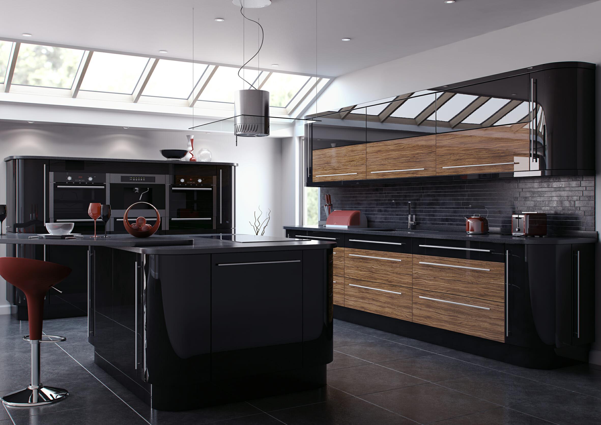High gloss kitchens mastercraft kitchens - Princeton Solid Oak Reflections Black Reflections Black Olive