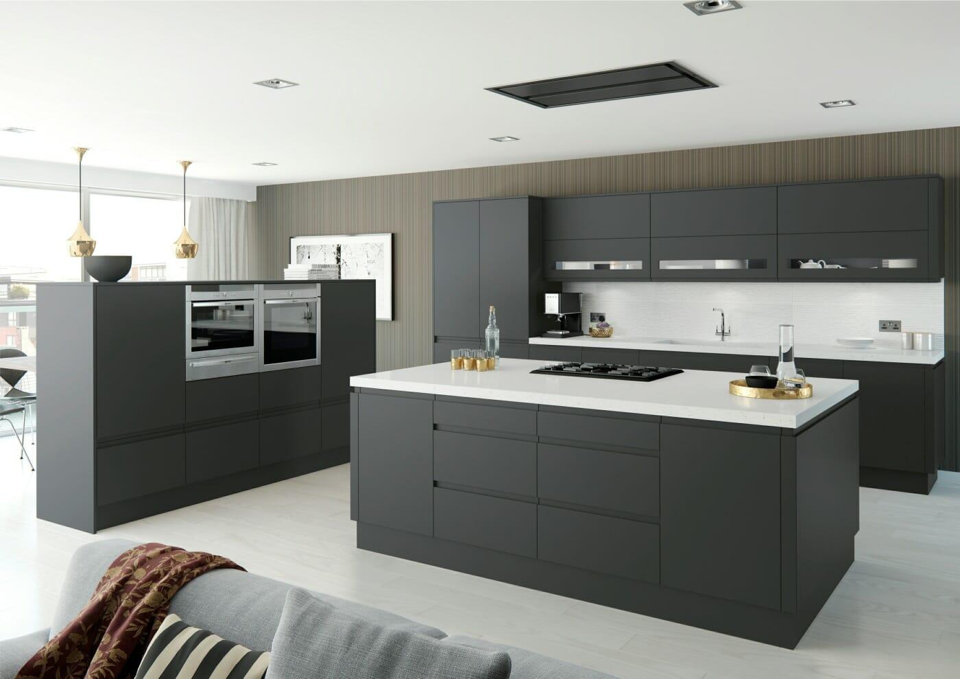 Moda anthracite matt mastercraft kitchens for Matt black kitchen doors