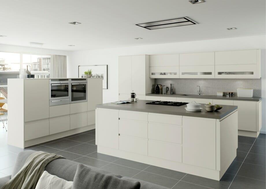 Cream platinum handle less handless matt silk kitchen for Pre built kitchen units