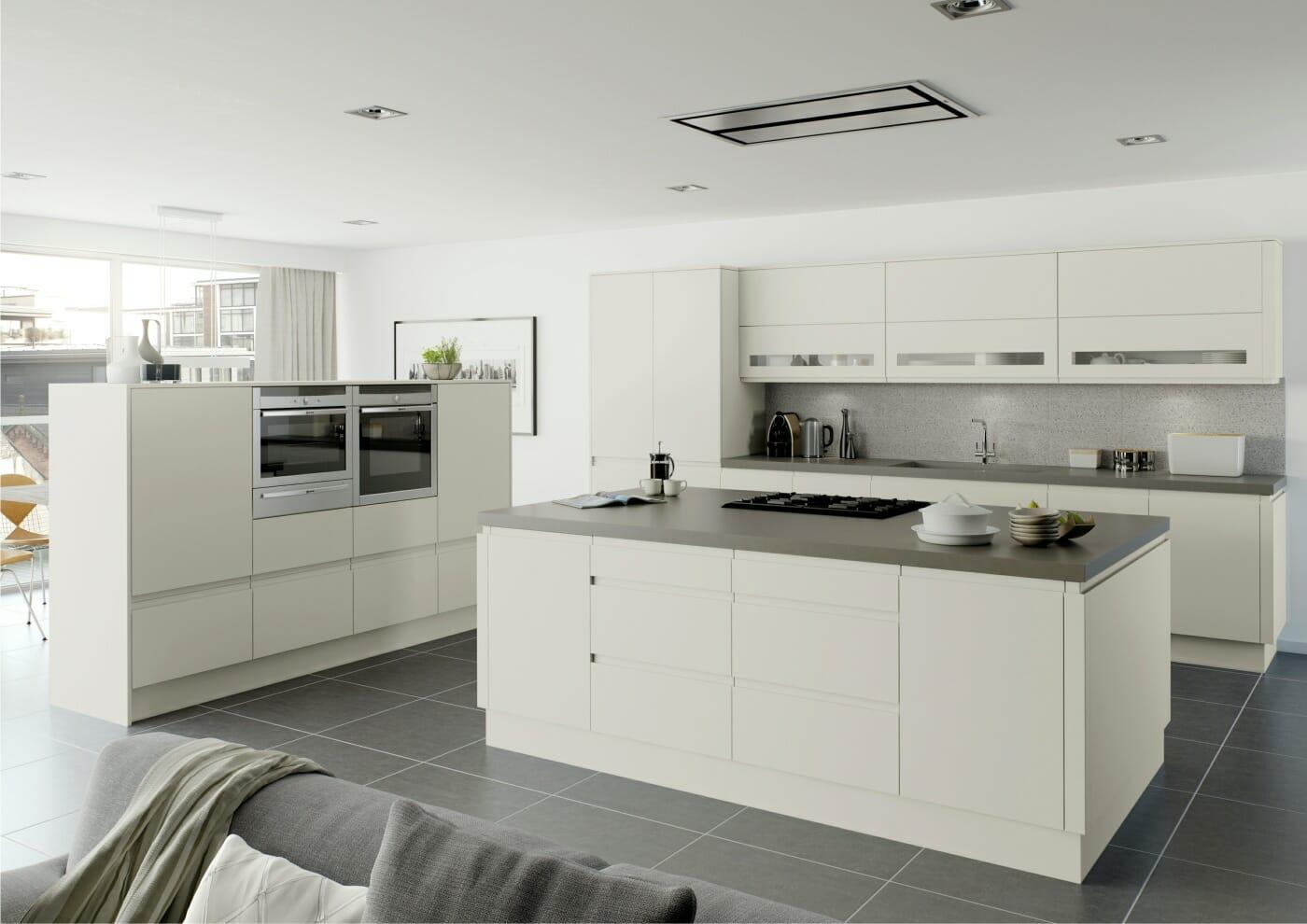Platinum handless matt units complete kitchen rigid new for Handless kitchen units