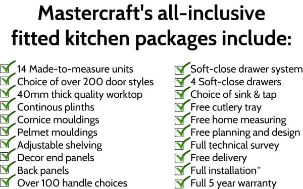 Mastercraft's all inclusive fitted kitchen packages list photo