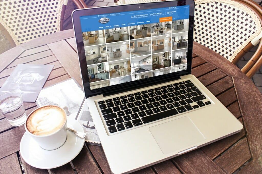 Laptop showing Mastercraft Kitchens Page